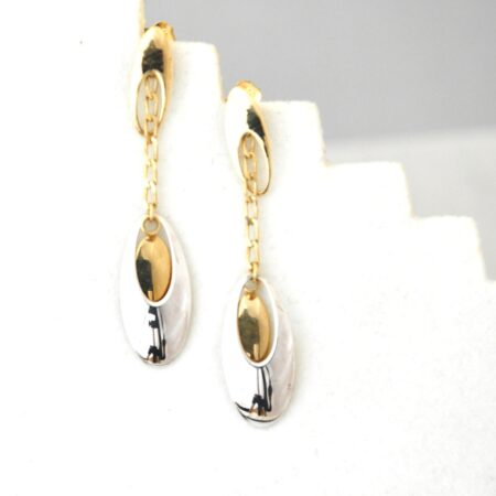 10K Solid White and Yellow Gold Drop / Dangle Earrings