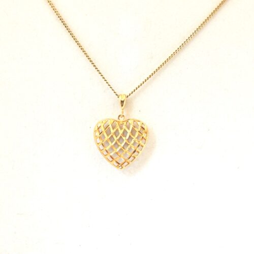 10K Solid White and Yellow Gold, Heart Pendant