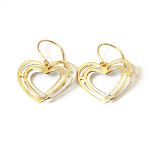 10K Solid White and Yellow Gold Heart Shaped Earrings