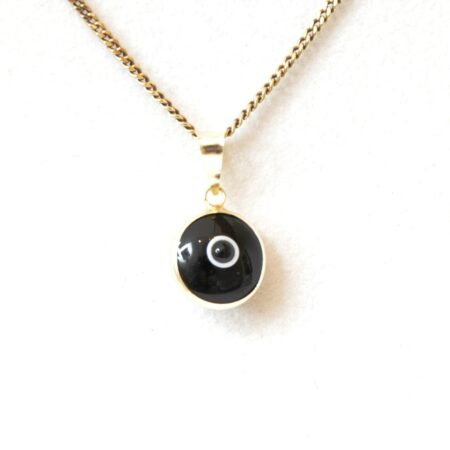 14K Solid Gold Black Lapis Pendant
