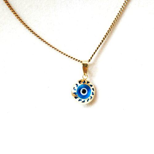 14K Solid Gold,  Greek Style, Round, Evil Eye Pendant