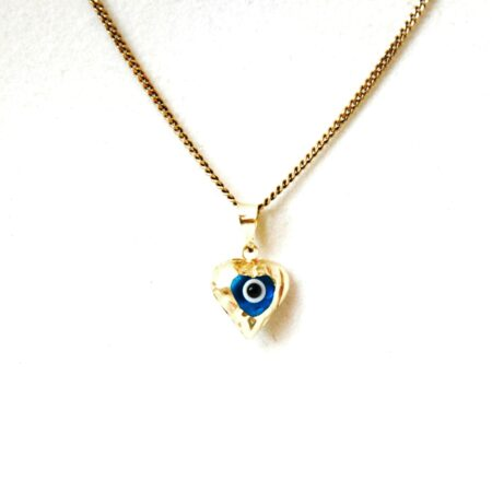 14K Solid Gold, Heart Shaped  Evil Eye Pendant