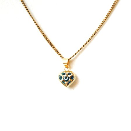 14K Solid Gold, Heart Shaped Greek Style Evil Eye Pendant
