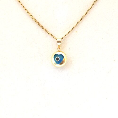 14K Solid Gold, Heart Shaped  Round Evil Eye Pendant