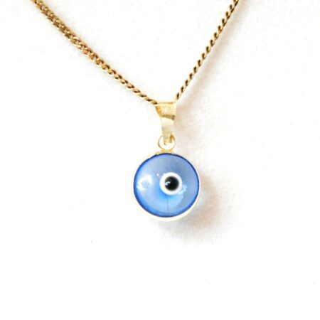 14K Solid Gold Light Blue Transparent Lapis Pendant