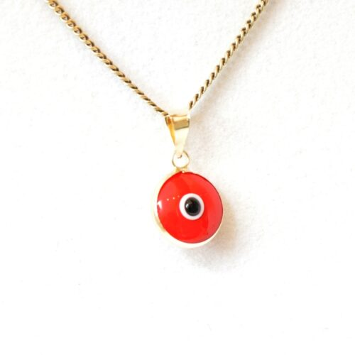 14K Solid Gold Red Lapis Pendant