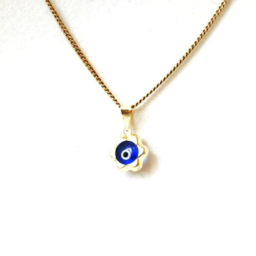 14K Solid Gold, Round Evil Eye Flower Pendant