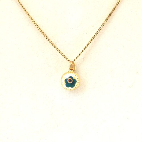 14K Solid Gold, Round Evil Eye Flower, Round Pendant