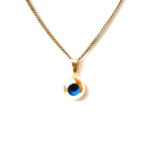 14K Solid Gold, Round Evil Eye Pendant