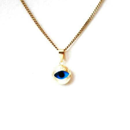 14K Solid Gold, Round Shaped Evil Eye Pendant