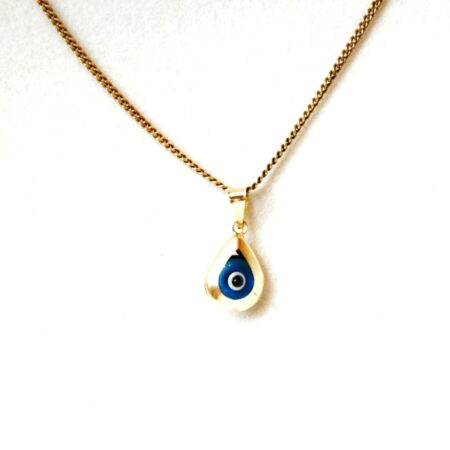 14K Solid Gold, Teardrop Shaped Evil Eye Pendant