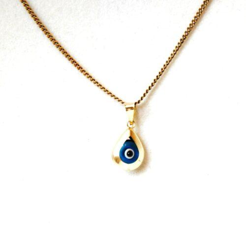 14K Solid Gold, Teardrop Shaped Evil Eye Pendant