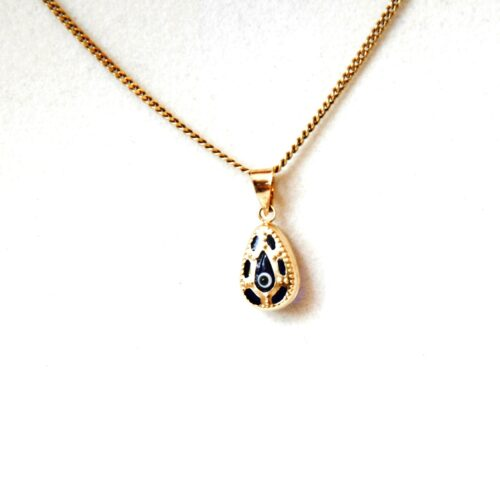 14K Solid Gold, Teardrop Shaped Greek Style Evil Eye Pendant