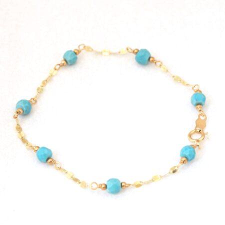 14K Solid Gold Turquoise Bracelet