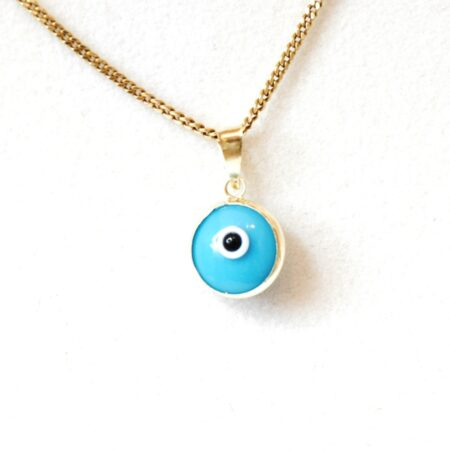 14K Solid Gold Turquoise Lapis Pendant