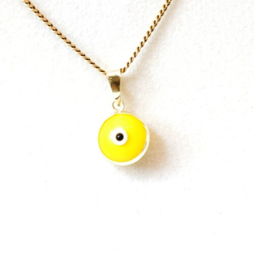 14K Solid Gold Yellow Lapis Pendant