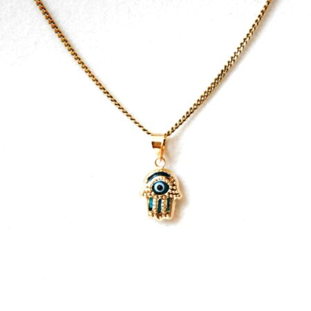 14K Solid Gold,Fatima / Hamsa Hand Evil Eye Pendant