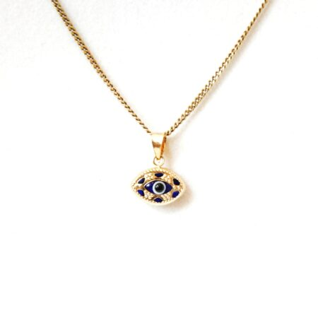 14K Solid Gold,Oval Shaped Greek Style Evil Eye Pendant
