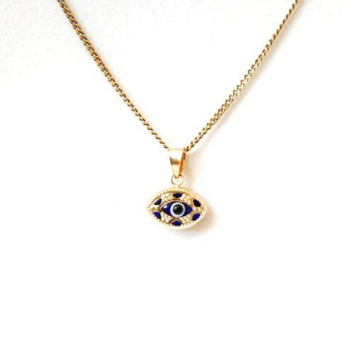 14K Solid Gold,Oval Shaped Greek Style Evil Eye Pendant
