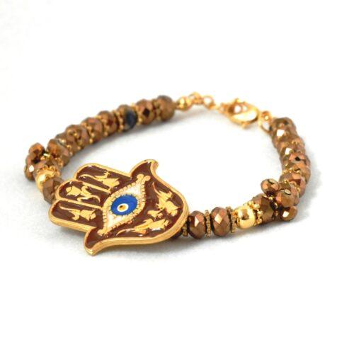 18K Gold Plated, Brown Crystal Fatima/Hamsa Hand Bracelet