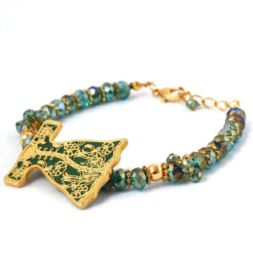 18K Gold Plated, Green Crystal, Caftan Bracelet