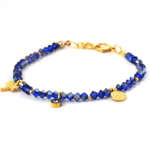 18K Gold Plated, Navy Crystal Evil Eye , Dragonfly and Coin Bracelet