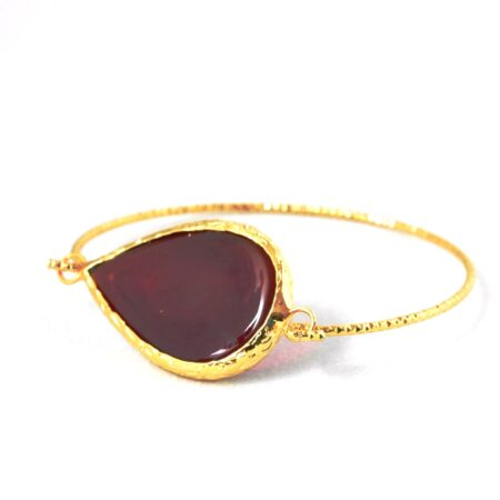 18K Gold Plated, Teardrop, Red Carnelian Bracelet