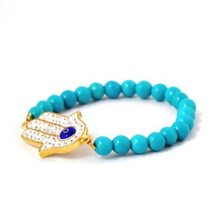 18K Gold Plated, Turquoise, Fatima/Hamsa Hand, Crystal Evil Eye Elastic Bracelet