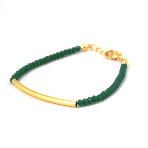 18k Gold Plated, Emerald Bracelet