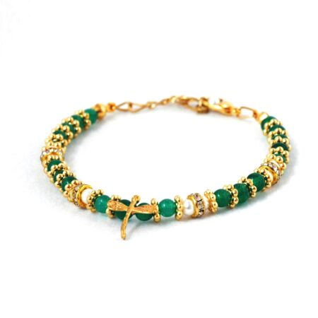 18k Gold Plated, Emerald and Fresh Water Pearl, Dragon Fly Bracelet