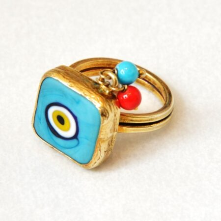 925 Sterling Silver, 18K Gold Plated Evil Eye Adjustable Ring