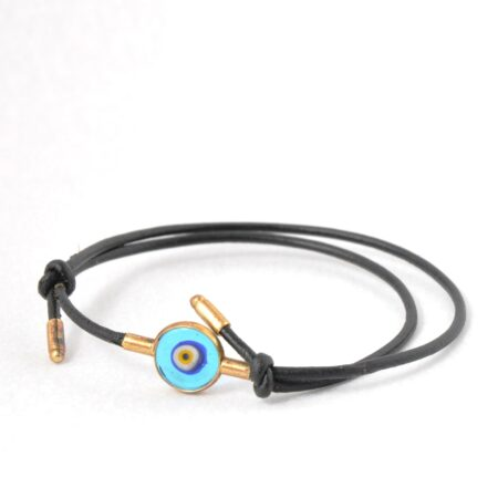 925 Sterling Silver, 18K Gold Plated Evil Eye Hand Real Leather Bracelet