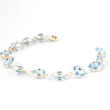 925 Sterling Silver Crystal Lapis Bracelet
