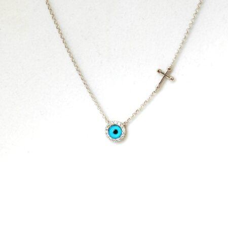 925 Sterling Silver Evil Eye, Cross Necklace