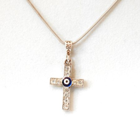 925 Sterling Silver Evil Eye Cross Pendant