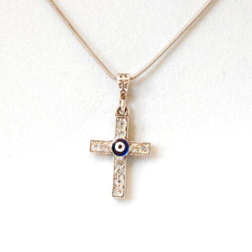 925 Sterling Silver Evil Eye Cross Pendant
