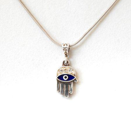 925 Sterling Silver Evil Eye Fatima/Hamsa Hand Pendant