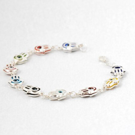 925 Sterling Silver, Evil Eye, Fatima/Hamsa Hand Shaped Multicolor Bracelet