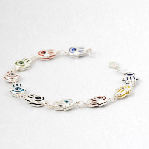 925 Sterling Silver, Evil Eye, Fatima/Hamsa Hand Shaped Multicolor Bracelet
