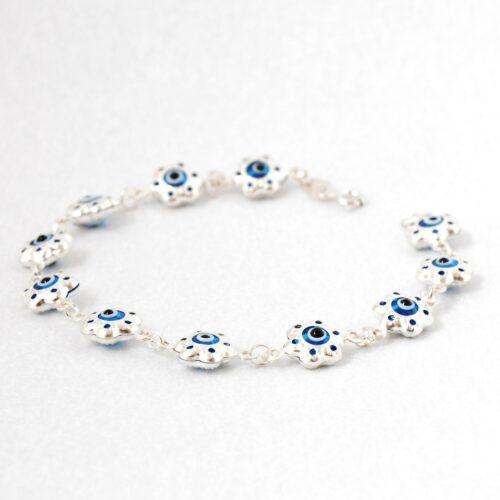 925 Sterling Silver, Evil Eye, Flower Shaped Bracelet
