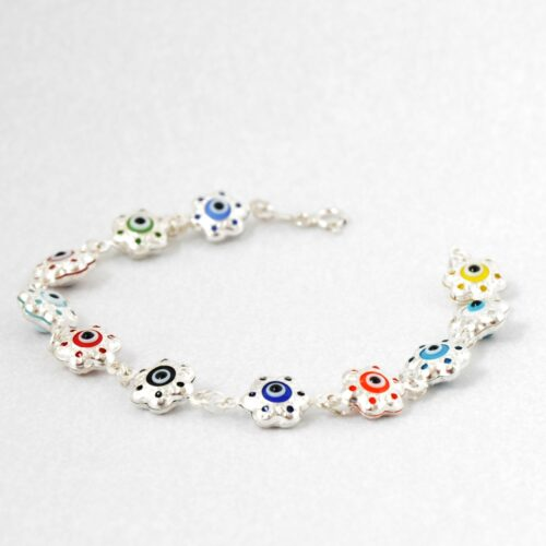 925 Sterling Silver, Evil Eye, Flower Shaped Multicolor Bracelet