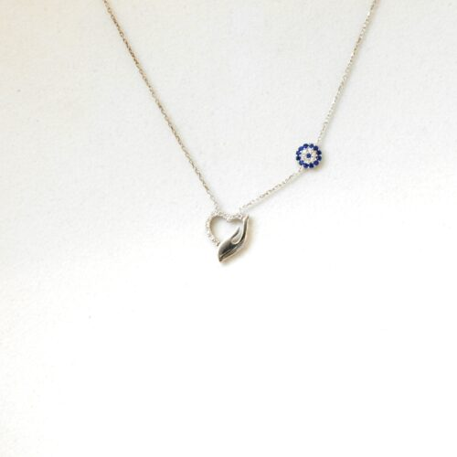 925 Sterling Silver Evil Eye, Heart Shaped Necklace