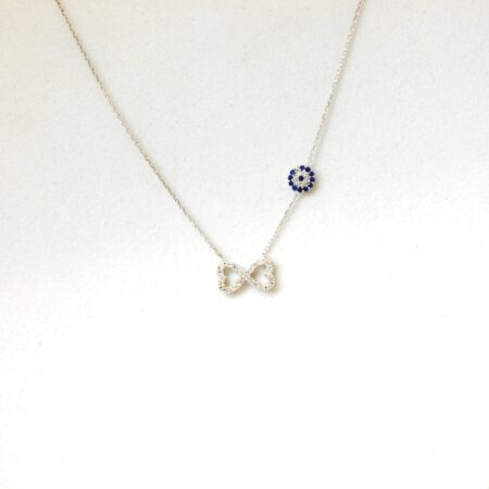 925 Sterling Silver Evil Eye, Infinity Necklace