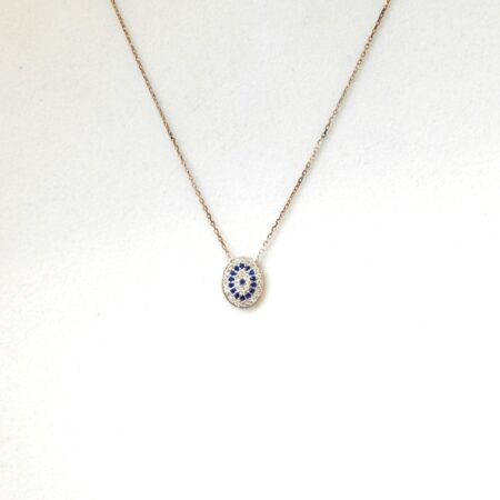 925 Sterling Silver Evil Eye, Oval Shaped Necklace