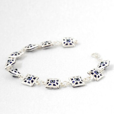 925 Sterling Silver, Evil Eye, Square Shaped Bracelet
