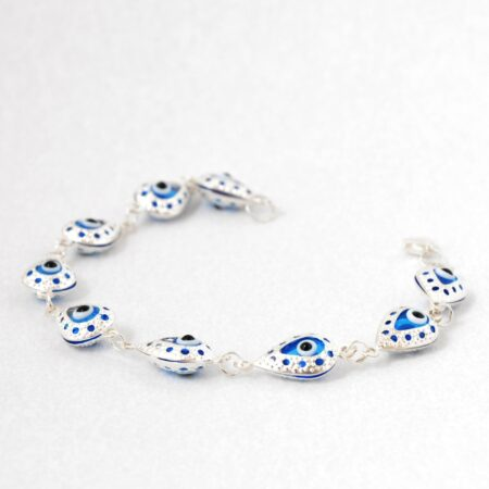 925 Sterling Silver, Evil Eye, Tear drop Shaped Bracelet