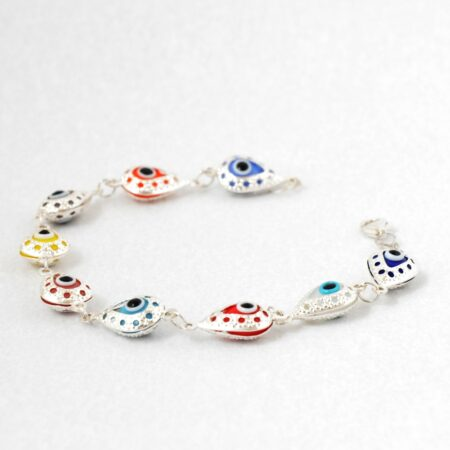 925 Sterling Silver, Evil Eye, Teardrop Shaped Multicolor Bracelet