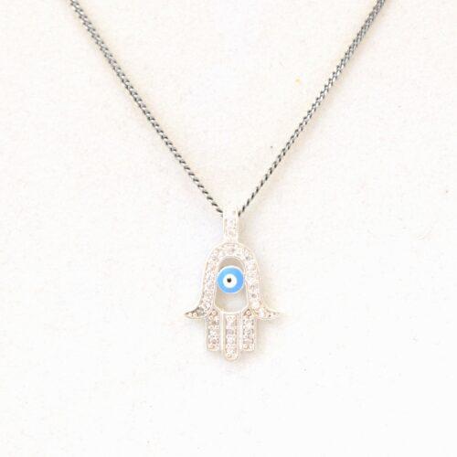 925 Sterling Silver Fatima/Hamsa Hand, Crystal Pendant