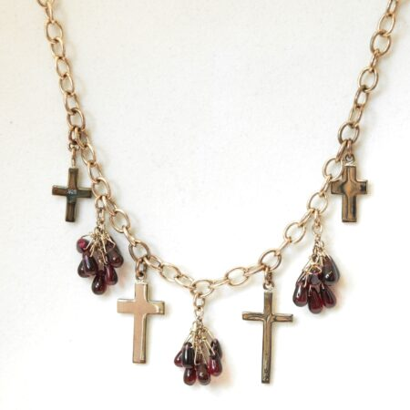 925 Sterling Silver Gem, Cross Necklace