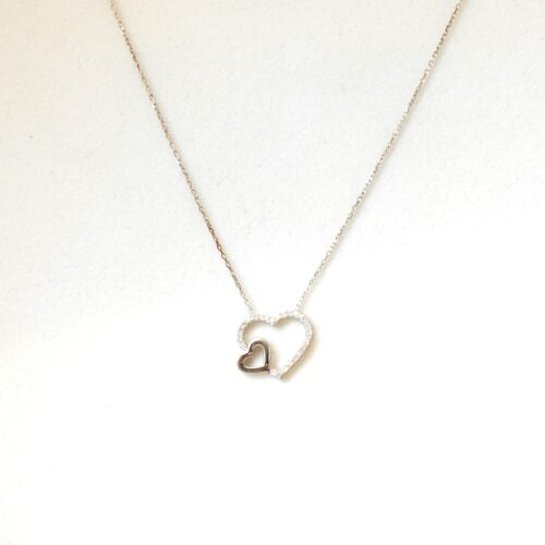 925 Sterling Silver Heart Shaped Necklace